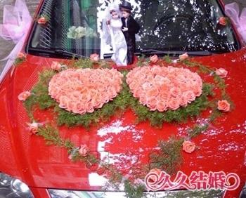 心形花艺花车_个性婚车
